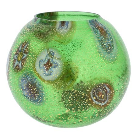 GlassOfVenice Murano Glass Millefiori Votive Candle Holder - Green