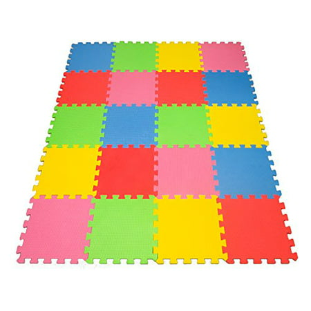 Angels 20 XLarge Foam Mats Toy ideal Gift -Colorfull Tiles Multi Use, Create & Build A Safe PLay Zone Area, Interlocking eva Non-Toxic Floor for Children Toddler Infant Kids Baby Room & Yard (Floor Mat For Babies To Play On)