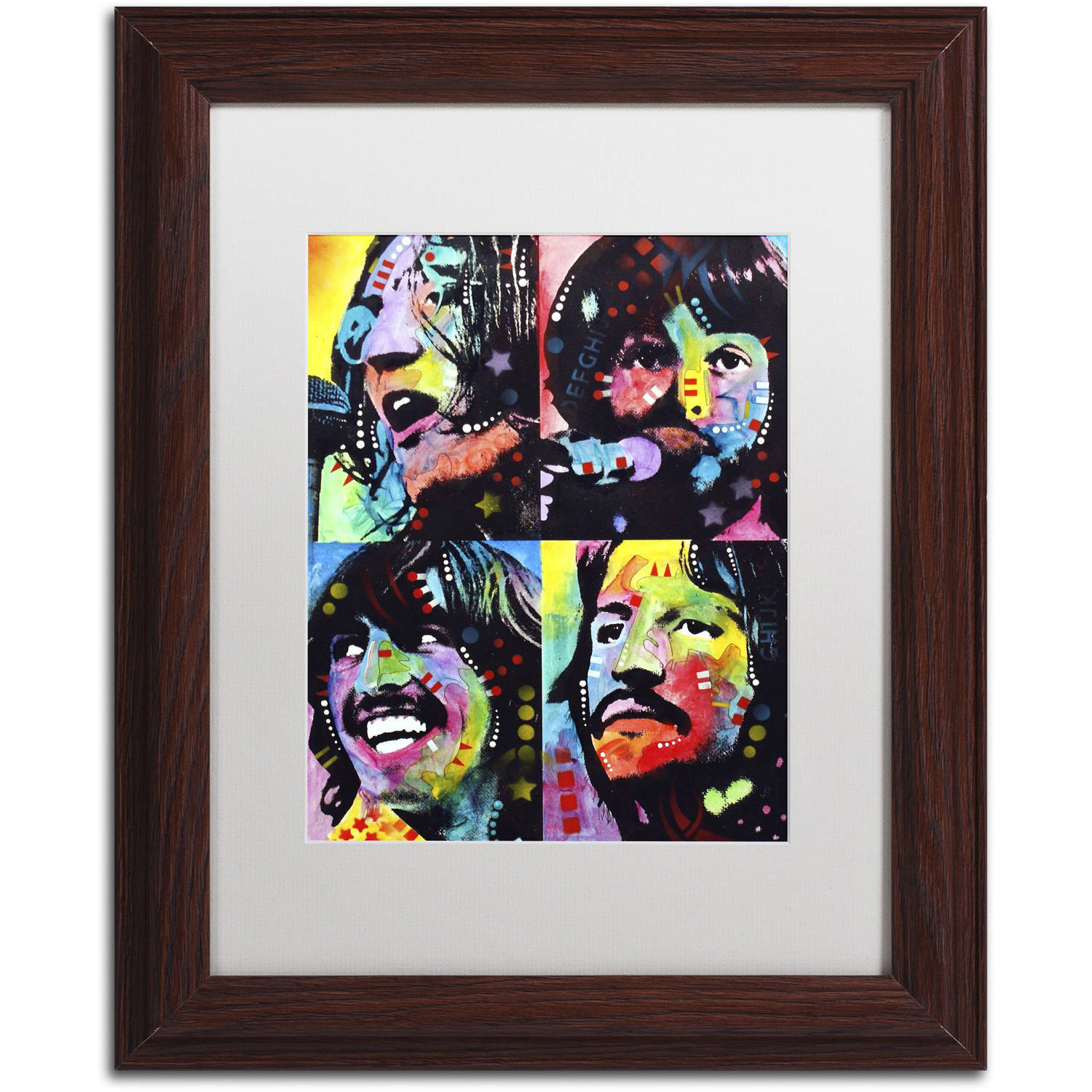 "Trademark Fine Art ""Beatles"" Canvas Art by Dean Russo, White Matte, Wood Frame"