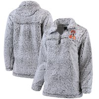 Oklahoma State Cowboys Women's Sherpa Super Soft Quarter Zip Pullover Jacket - Gray