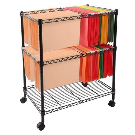 Ktaxon Portable 2 Tier Layer Metal Rolling Mobile File Cart 24 x 16 x 28