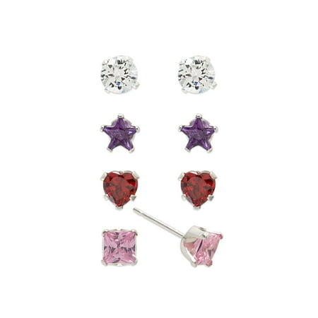 - Girls' Sterling Silver Multi-Color CZ Round, Heart, Star and Square Stud Earrings Set