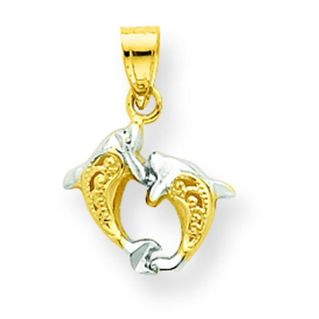 10K Gold & Rhodium Plated Small Dolphin Charm Pendant Jewelry