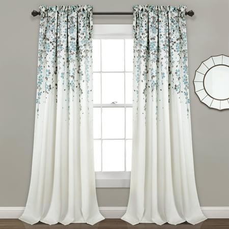 Weeping Flowers Room Darkening Window Curtain Set