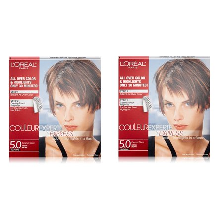 L'Oreal Paris Couleur Experte Express Hair Color + Highlights, Permanent 5.0 Natural Caramel Glaze Medium Brown (Pack of 2) + Yes to Tomatoes Moisturizing Single Use (Best Dye To Use On Natural Hair)