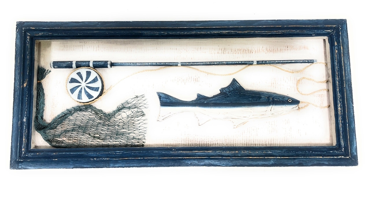 "Decorative Fishing Gear Shadow Box 22"" - Nautical Wall Hanging Decor 
