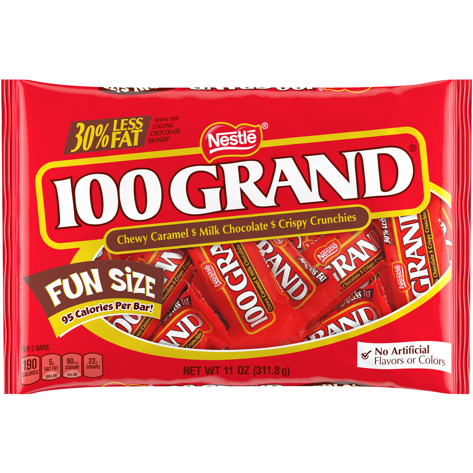 100 Grand Fun Size Halloween Candy Bars, 11 oz
