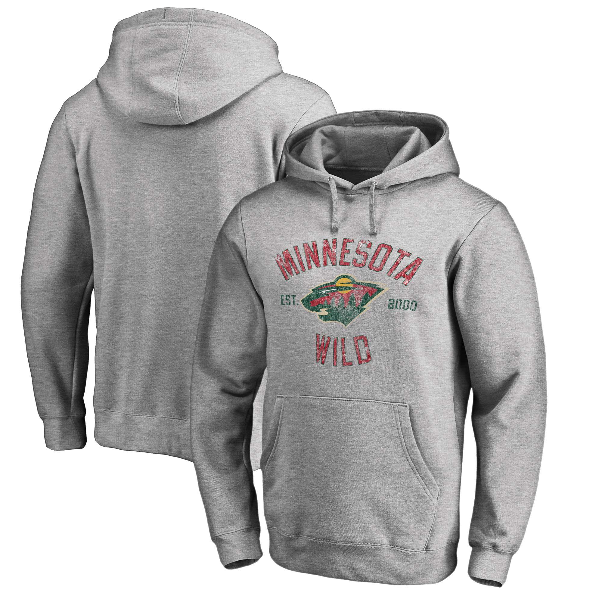 Minnesota Wild Fanatics Branded Vintage Heritage Pullover Hoodie - Heathered Gray