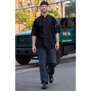 4003-3601 Yarn Dyed Baggy Chef Pant in Black and white Tribal - XSmall