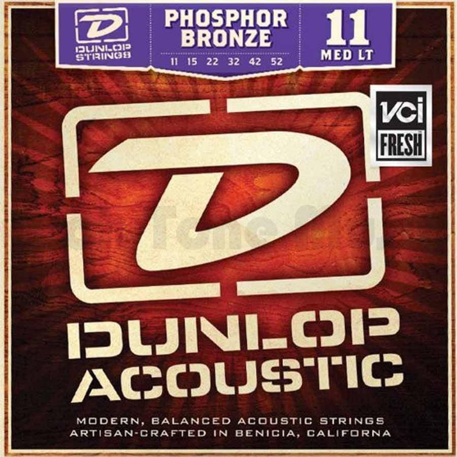 Dunlop DAP1152 Phosphore Bronze Medium Light Acoustic Strings 6-String Set, .011-.052 by Dunlop