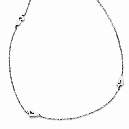 Stainless Steel Polished Slip On Hearts Necklace