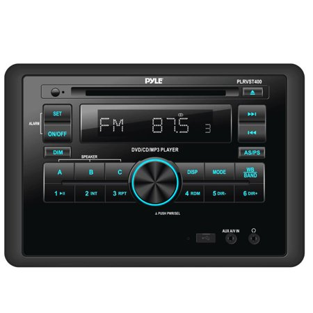 Pyle Double DIN In Dash Car Stereo Head Unit - Wall Mount RV Audio Video Receiver System with Radio, BT, CD DVD Player, MP3, USB - Includes Remote Control, Power and Wiring Harness