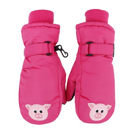 Hot Pink Gloves (SimpliKids Children's Winter 3M Thinsulate Waterproof Ski Mitten Gloves,M,Hot Pink#15)