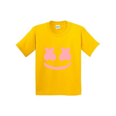 Trendy USA 1125 - Youth T-Shirt Marshmello DJ Smiley Face Music Small Daisy