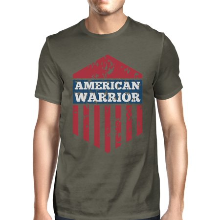 American Warrior Tee Mens Dark Gray Cotton Tee American Flag Shirt (Grey Warrior)