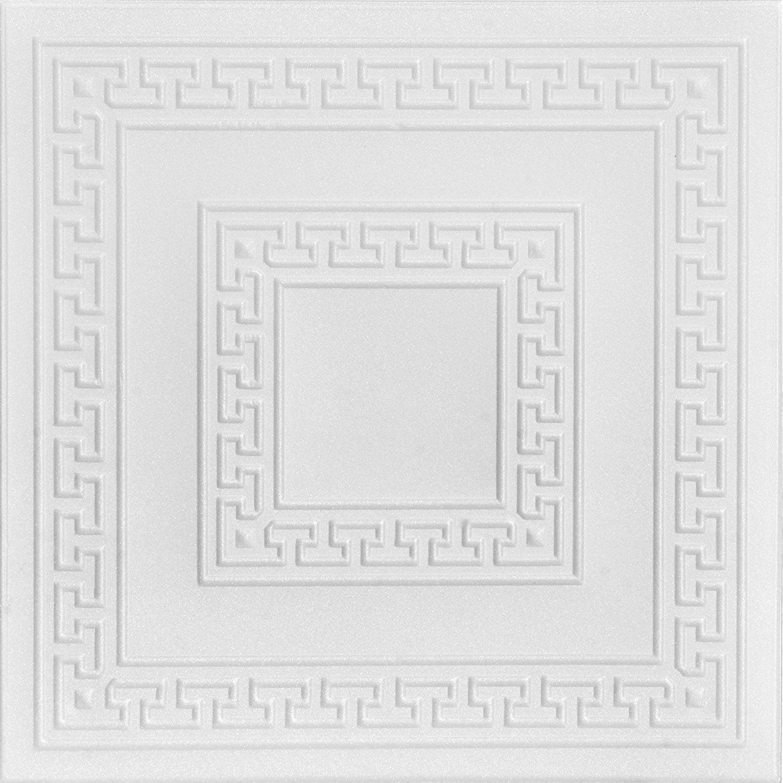 A la Maison Ceilings 823 Greek Key - Styrofoam Ceiling Tile (Package Of 8 Tiles), Plain White