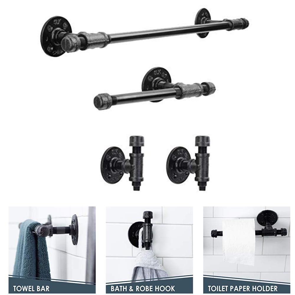towel or robe hook Rustic Bathroom d/écor Industrial Hook Black Iron Pipe bathroom d/écor home wall hanging industrial d/écor