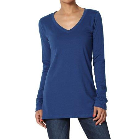 TheMogan Women's PLUS V-Neck Long Sleeve T-Shirt Stretch Cotton Slim Fit