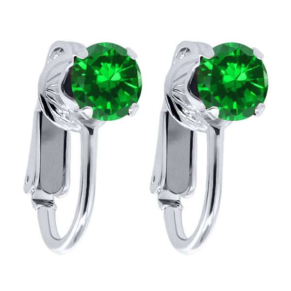 3.00 Ct Round Green Simulated Emerald 925 Sterling Silver Clip On Earrings