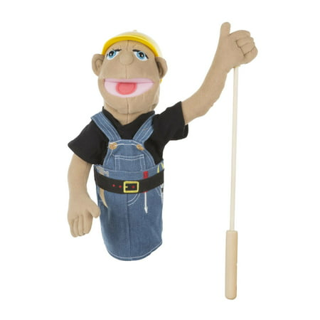 Melissa & Doug Construction Worker Puppet With Detachable Wooden Rod for Animated -