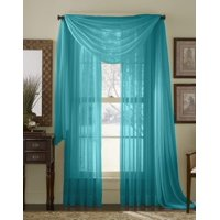 """1PC Solid sheer Scarf Valance Topper Curtain Drape in 216"""" for Wedding Quinceniera Gender Reveal Baby Shower Birthday Party Décor in Multiple Colors (Brown)"""