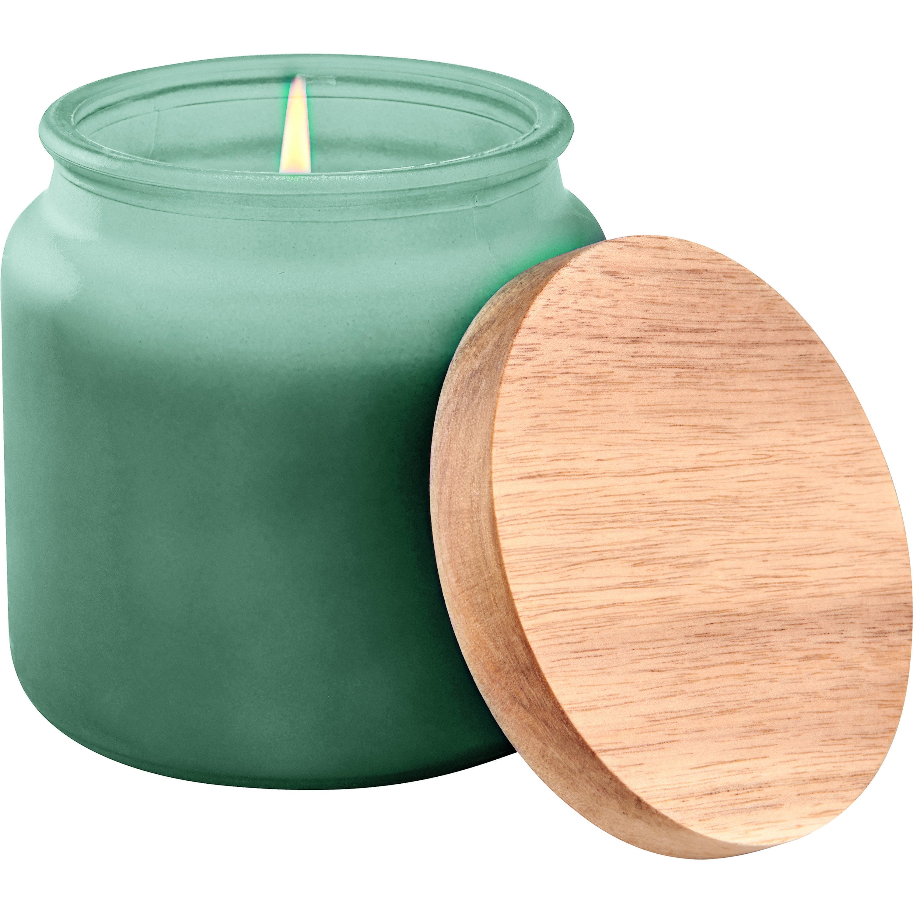 Better Homes & Gardens Green Frosted Glass Single-Wick Candle with Wooden Lid, Soft Cashmere Amber
