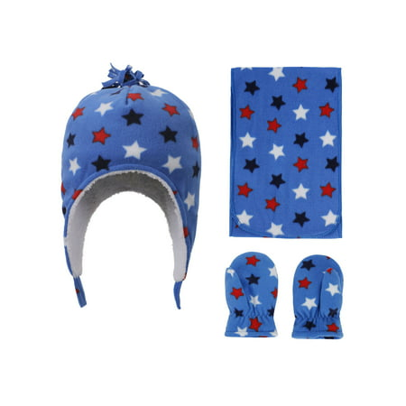 Patterned Fleece Beanie, Scarf & Gloves Set, Star Print, 5-7 -