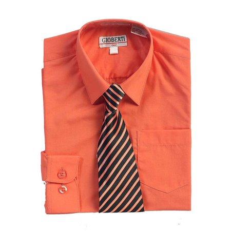 Coral Button Up Dress Shirt Black Striped Tie Set Boys 5-18