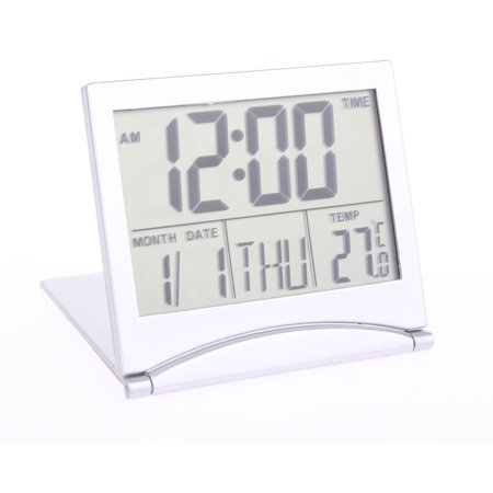 TSV Large Digital LCD Folding Timer, Travel Alarm Clock with Thermometer Calendar Silver Timer