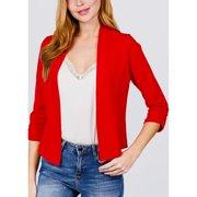 Womens Juniors Open Front Solid Career Wear Business Office 3/4 Sleeve Casual Lightweight Blazer