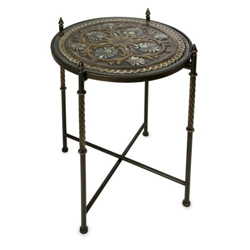 """30.25"""" Floral Medallion Glass Top Decorative Accent Table"""