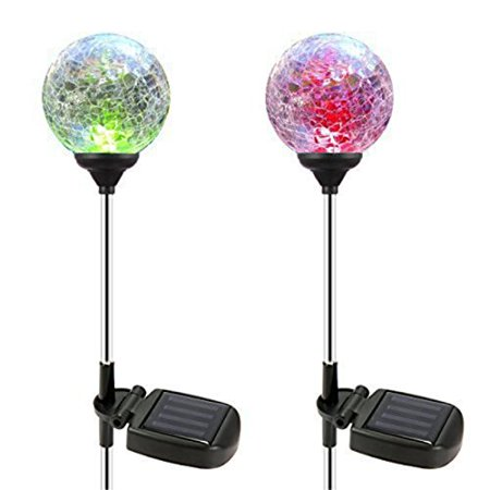 Oxyled crystal glass globe color changing led solar lights for 57in led lighted peacock outdoor christmas decoration