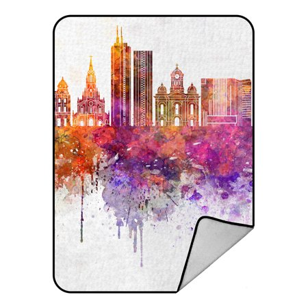 YKCG Watercolor New York City Skyline Cityscape Blanket Crystal Velvet Front and Lambswool Sherpa Fleece Back Throw Blanket 58x80inches
