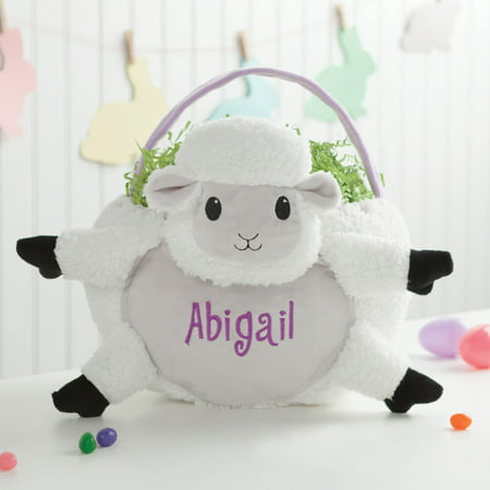 Personalized Wicker Kids Easter Basket – White Lamb