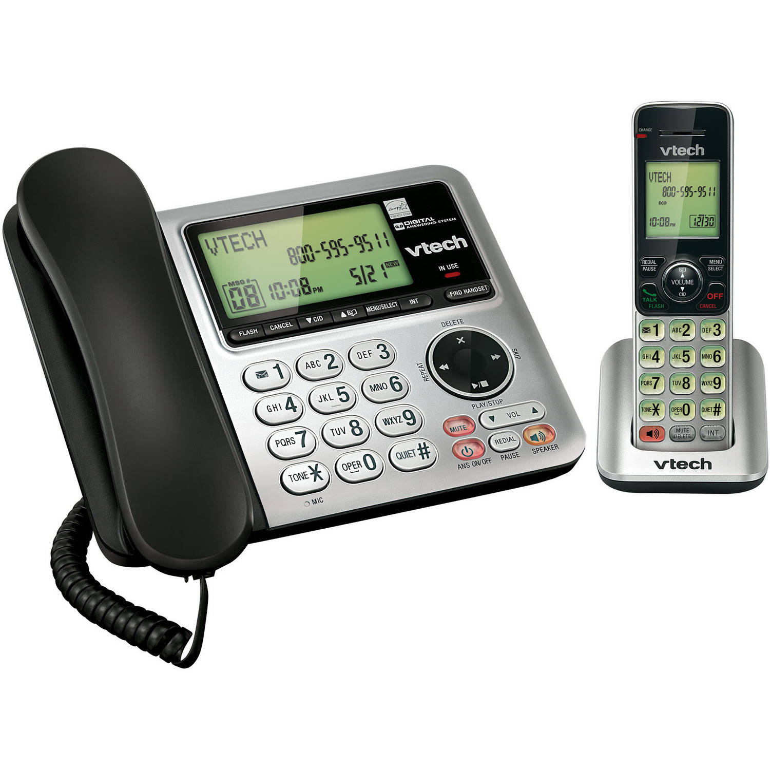 VTech CS6649 DECT 6.0 Expandable Corded/Cordless Phone with Answering System and Caller ID/Call Waiting, Silver/Black with 1 Handset