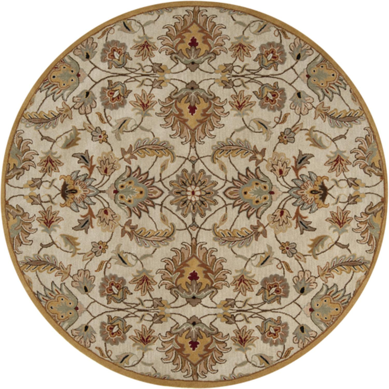 9.75' Alexandria Caramel Tan & Silver Gray Hand Tufted Round Wool Area Throw Rug