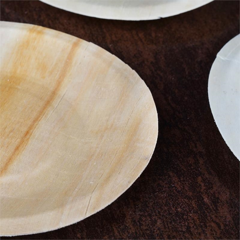 "BalsaCircle 25 pcs 5.5"" Disposable Natural Birch Wooden Round Plates - Eco Friendly Biodegradable Wedding Party Tableware"