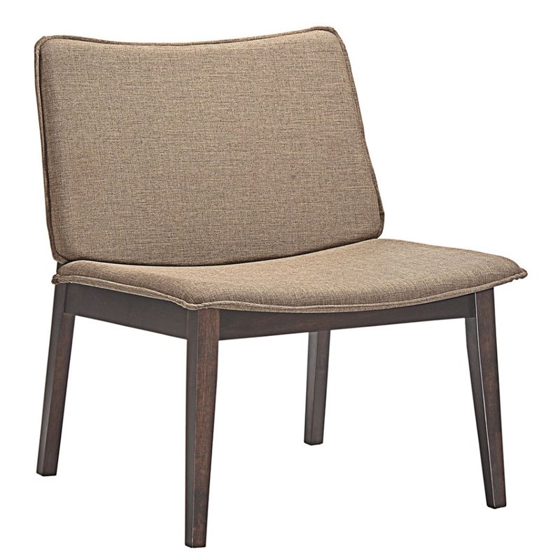 25 in. Lounge Chair in Walnut Latte by Modway