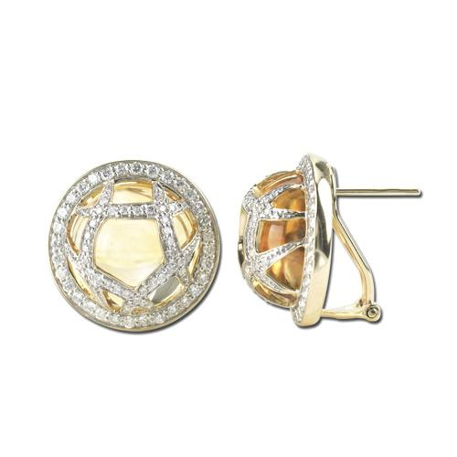 14K Yellow Gold 21.16ct Entrapped Bezel Set Diamond & Citrine Stud Earrings