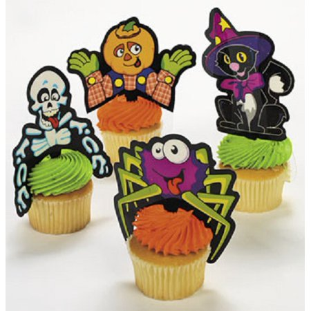 Halloween Decorations For Outside Party (Lot of 24 Plastic Halloween Character Cupcake Picks Party)