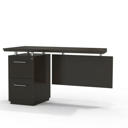 Left Single Pedestal (Single Pedestal Left Handed Desk Return with 1 Box/Box/File Pedestal, Textured Mocha)