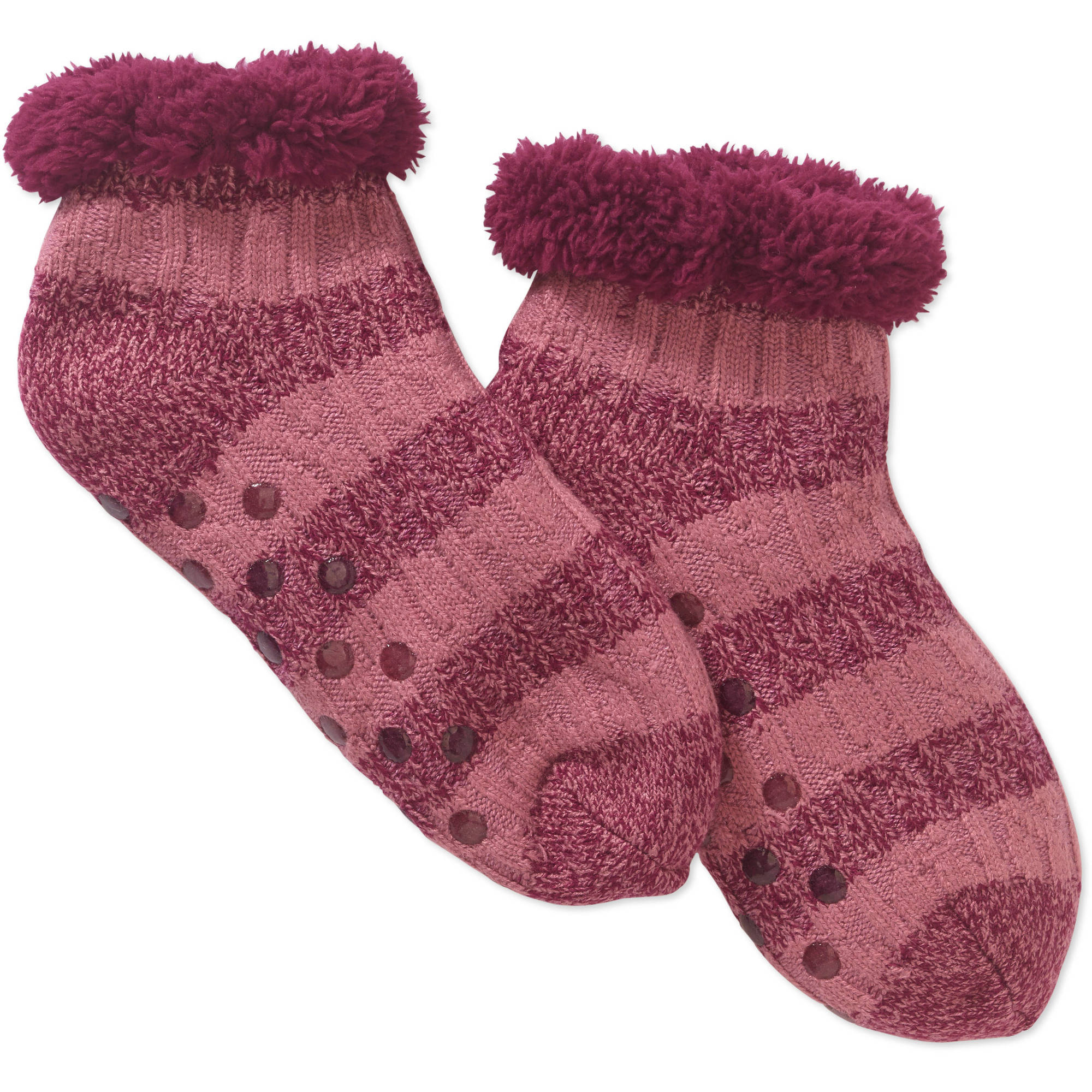 Cozy Warmer Cable Knit Striped Slipper Socks