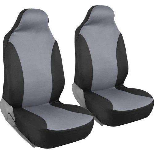 2-Tone Front Pair of Bucket Seat Covers for Car, Rome Polyester Cloth