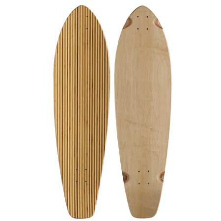 Inferno Skateboard Deck - BAMBOO LONGBOARD SKATEBOARD Deck KICKTAIL Inlay Stripes 9.75 in x 36.5 in
