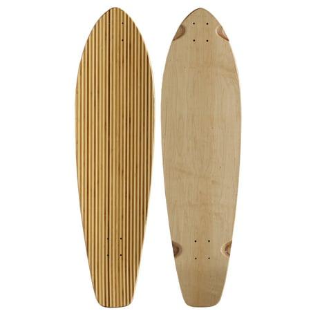 Bamboo Longboard Skateboard Deck Kicktail Inlay Stripes 9