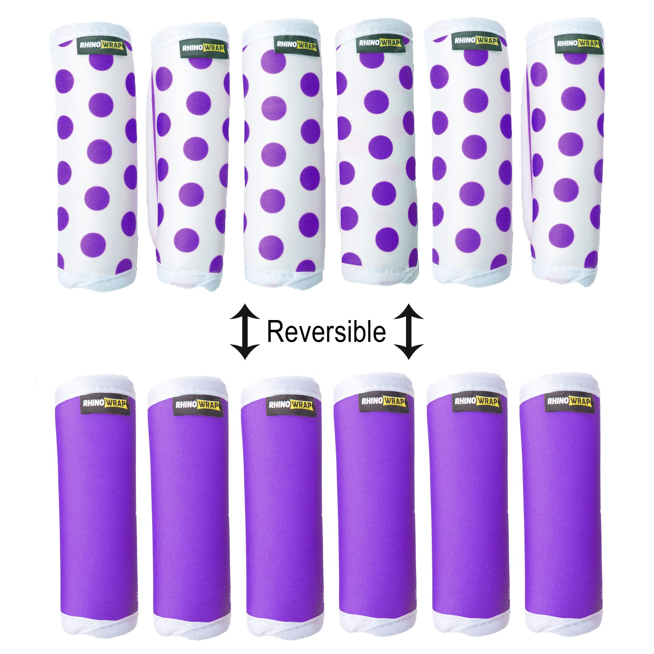 Rhino Wrap DOTS! Purple Luggage Locators (Quantity 6) Reversible: Solid Purple