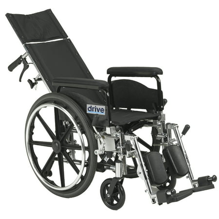 """Drive Medical Viper Plus GT Full Reclining Wheelchair, Detachable Full Arms, 20"""" Seat"""