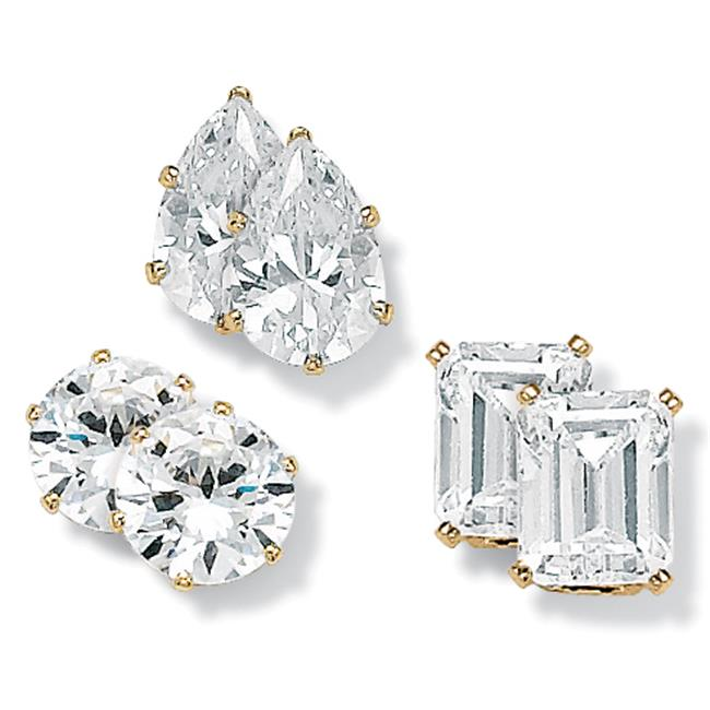 PalmBeach Jewelry 50069 19. 56 TCW Multi-Shaped Cubic Zirconia 14k Yellow Gold-Plated Stud Earrings 3-Pairs Set