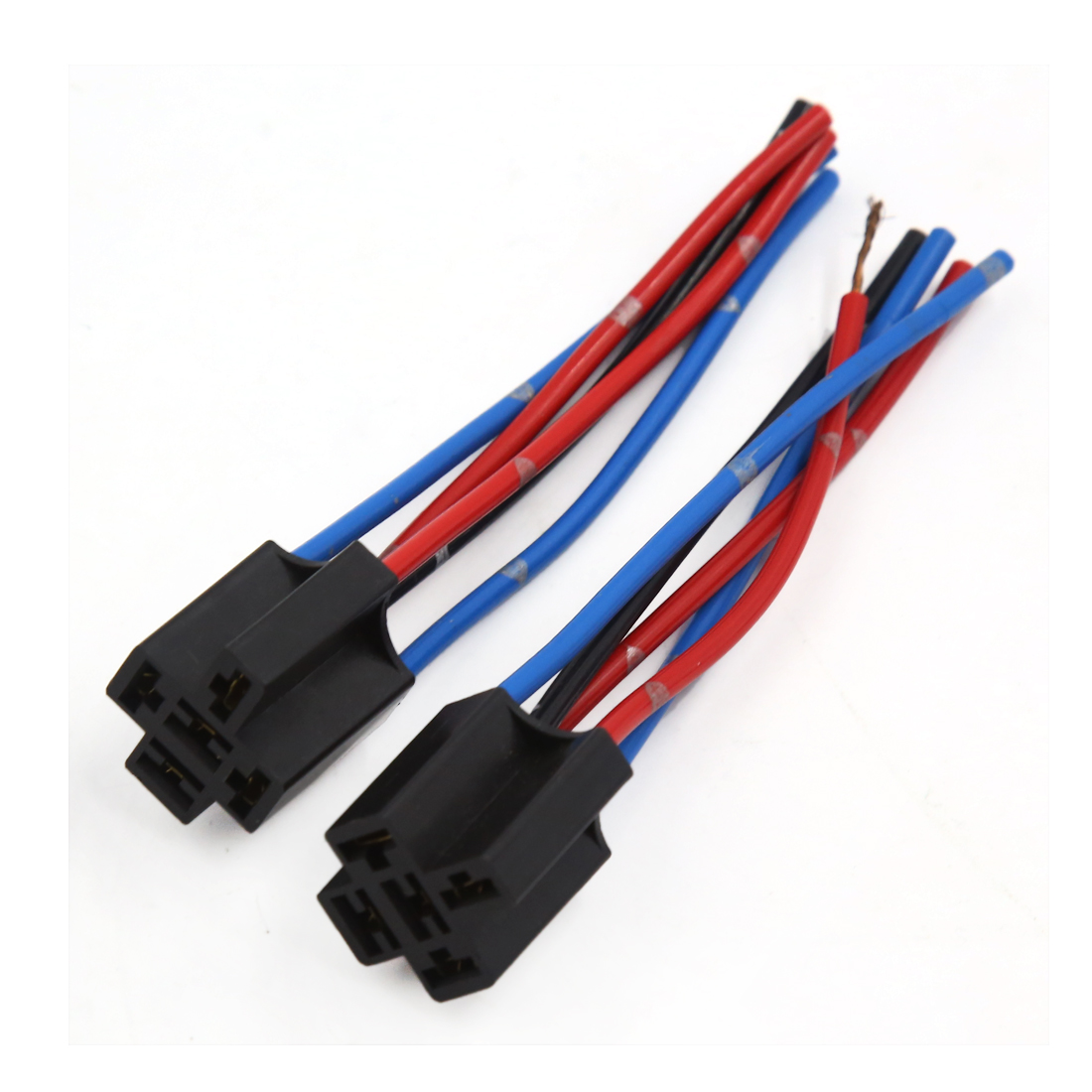 Unique Bargains2 Pcs Black Plastic 5 Pin Wire Relay Socket Harness 24 Wiring For Auto Car
