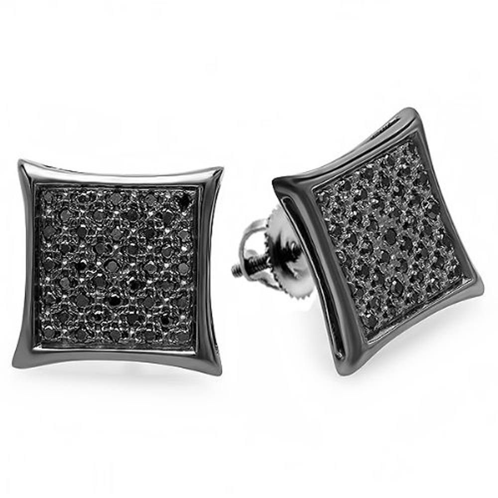 0.23 Carat (ctw) Black Plated Sterling Silver Real Black Diamond Kite Shape Men's Hip Hop Iced Micro Pave Stud Earrings